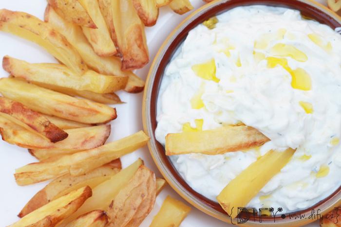 Pečené hranolky s tzatziki