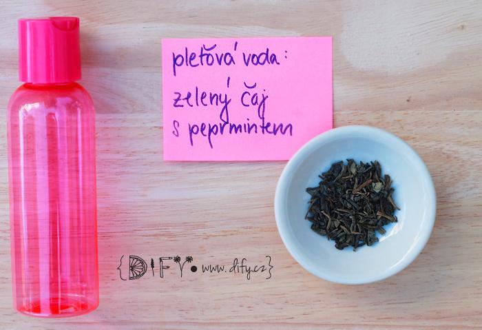 Domácí pleťová voda ze zeleného čaje s mátou