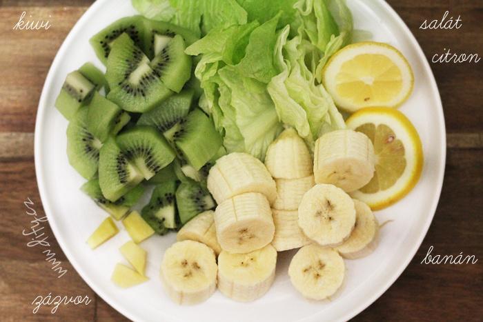 Recept smoothie kiwi, banán, salát a zázvor
