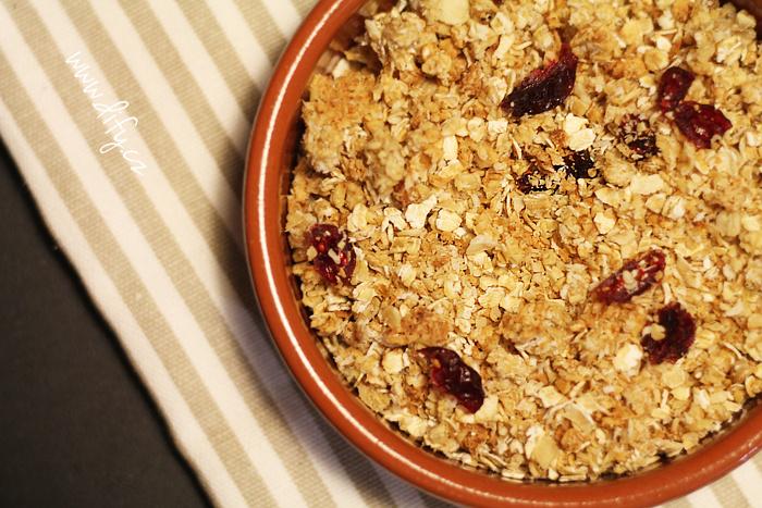 Jemná granola piña colada s brusinkami