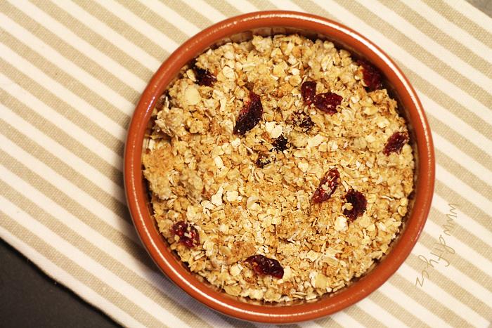 jemná domácí granola a la piña colada s brusinkami