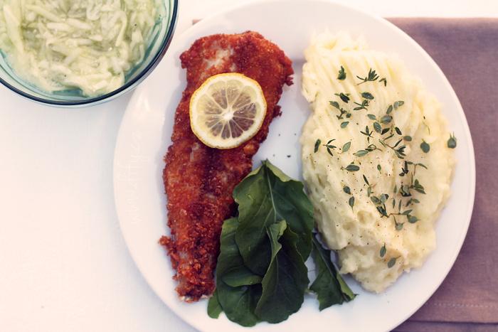 Obalovaná ryba bez lepku s bramborovou kaší