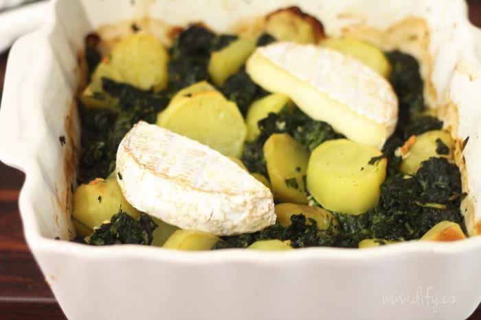 Recept na špenát zapečený s bramborem a sýrem