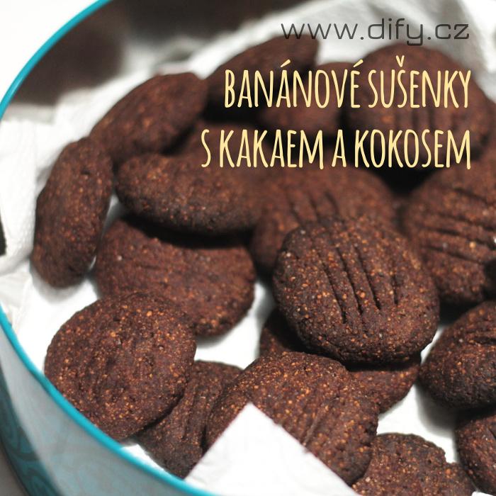 Sušenky s banánem, kokosem a kakaem, jednoduchý recept