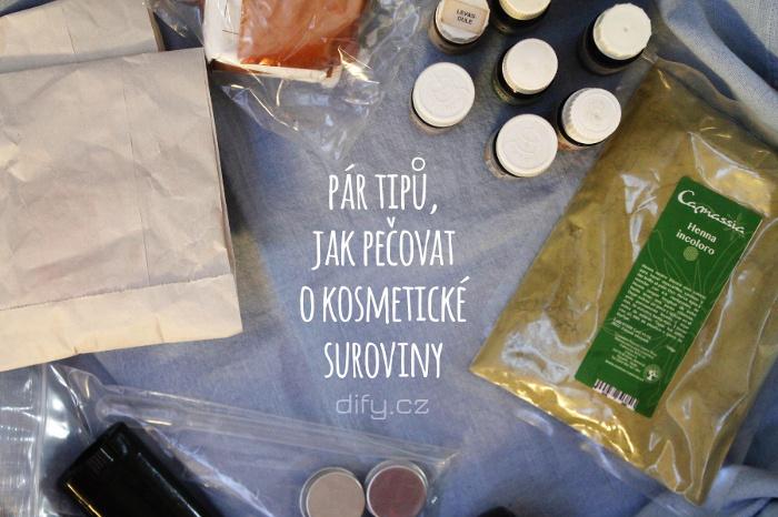 Péče a sladování kosmetických surovin