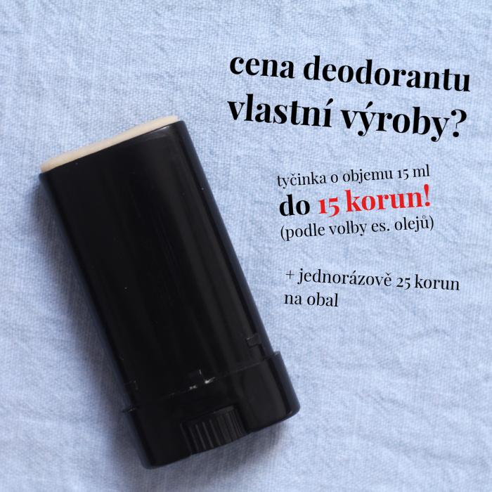 Cena deodorantu vlastní výroby
